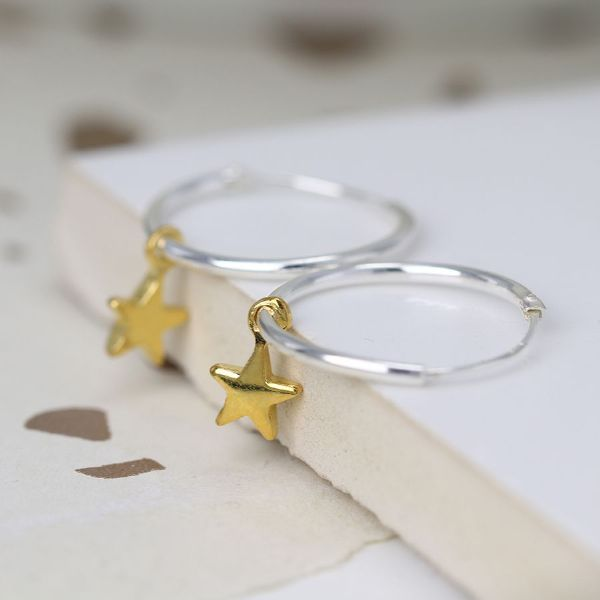STERLING SILVER HOOP EARRING WITH GOLD STAR